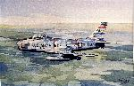 Painting I commissioned of General Ascani's F-86H based on photograph taken by Chuck Yeager.