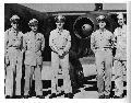 (Then) Captain Glen Edwards, Major Bob Cardenas, Colonel Fred J. Ascani, Captain Jimmy Little and Lieutenant Clemence with captured German Arado 234 jet at Wright-Patterson AFB, Dayton, Ohio.