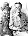 Colonel Fred J Ascani (now retired Major General Fred J Ascani, with the Thompson Trophy which he was awarded for his speed record set at Detroit. Photo courtesy AFFTC